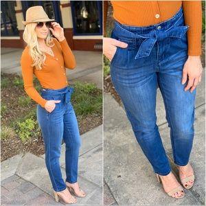 Denim - Denim Tie Front Jeans